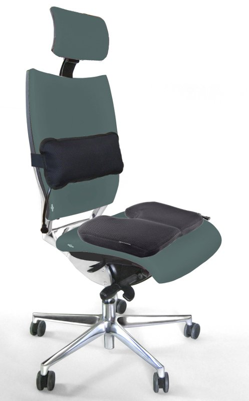 Lordosekissen und Sitzkissen auf dem Bürostuhl