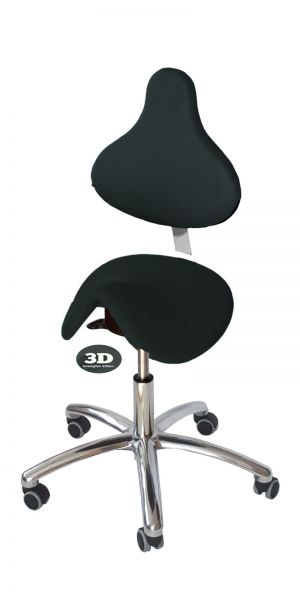 Sattelstuhl HORSE Premium, Bezug 3D-Stoff, Sitz schwarz, Rücken schwarz